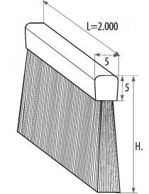 SPAZZOLA PER PROFILO ALLUMINIO SPESSORE TESTA 5 mm H.60 VG/M.3 NYLON