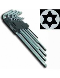 SET 9 CHIAVI TORX ANG.C/FORO LUNGHE T10-T50