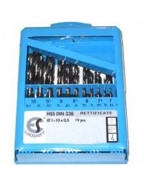 PUNTE HSS RETTIFICATE 1-10 PZ.19 IN ASTUCCIO METALLICO