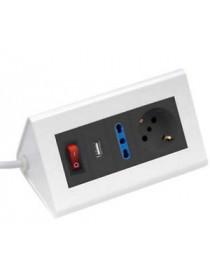 MULTIPRESA DA TAVOLO 2 USCITE + USB
