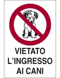CARTELLO ADESIVO 18X12 VIETATO INGRESS CANI