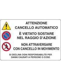 CARTELLO 30x20 ATTENZIONE . CANCELLO ELETTRICO