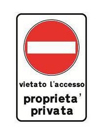 CARTELLO 30X20 VIETATO ACCESSO P PRIVATA